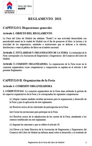 Reglamento de la 80ª Feria del Libro de Madrid 2021 se abrirá en una nueva ventana