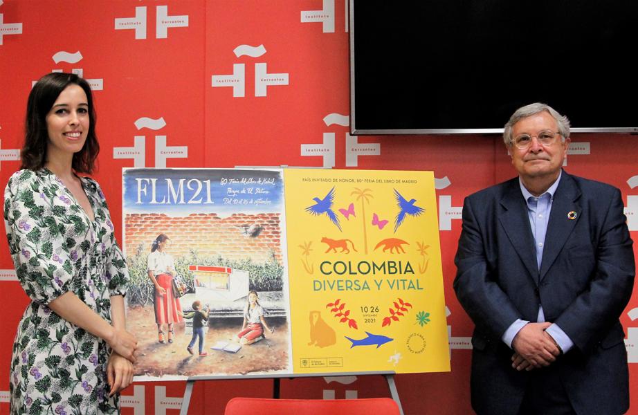 Andrea Reyes y Manuel Gil en la presentación del Cartel de la Feria del Libro de Madrid