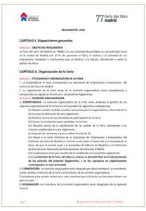 Imagen de la primera página del Reglamento de la Feria del Libro de 2018